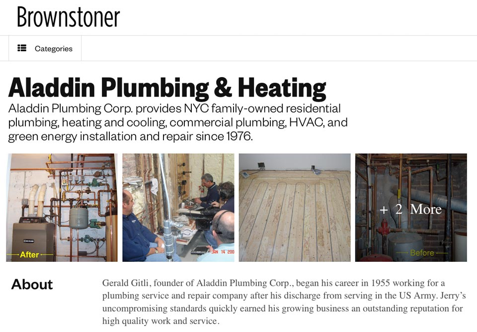 Visit Aladdin Plumbing on Brownstoner for Renovation Plumbing